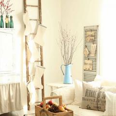 木製はしごでおしゃれに北欧インテリアデコレーション