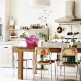 北欧ダイニングキッチンのレイアウト画像例 レトロ&カントリー