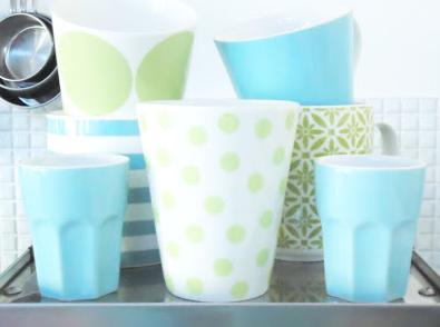 ブルー北欧雑貨陶器グラス