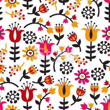 レトロ北欧の花柄イラスト