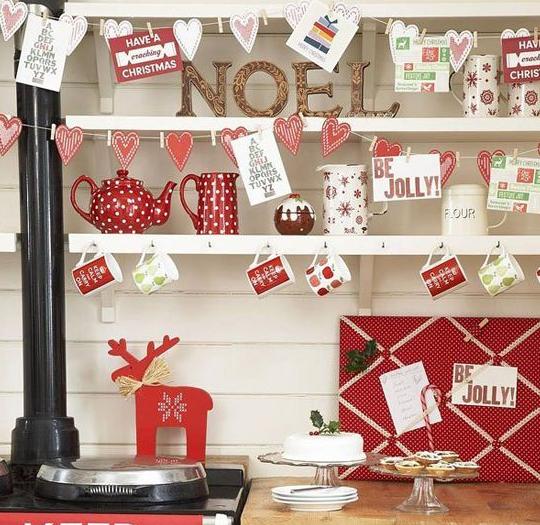 北欧クリスマス赤白飾り付け