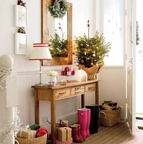 北欧スタイル玄関飾り付けクリスマス