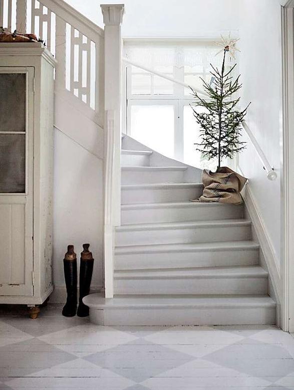 北欧インテリア階段クリスマス飾り